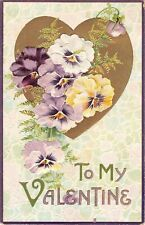 Golden Heart Behind Beautiful Pansies on 1912 Valentine PC-BB London Series 2802
