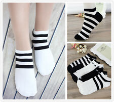5 Pcs Packed Black Stripes Women Girl Cotton Short Ankle Socks Size 5-8