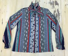 RHODA LEE - Vtg 70s Abstract Print Neck-Tie Button-up L/S Shirt, Womens Sz 10