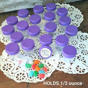 12 Tiny Pill Bottl Plastic JARS Purple Lids Caps .50 OZ Travel 3304 DecoJars USA