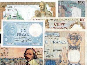 LOT N°2 pas cher billets Banque de France pour débutant