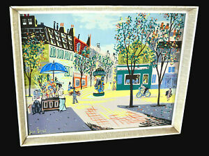MID CENTURY ORIGINAL SILKSCREEN ART BY JEAN BENET, PARISIAN STREET SCENE, FRAMED