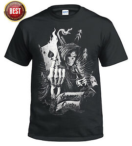 OFFICIAL Game Over T SHIRT/Reaper/Skull/Goth/Card/Poker/Ace/Metal/Rock/music/Top