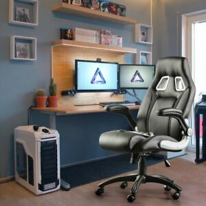 RECLINING LEATHER SPORTS RACING OFFICE DESK CHAIR GAMING GREY WITH FOOTREST
