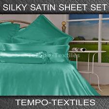 SB/DB/QB/KB/KS LUXURY Silky Satin Fitted Flat Pillowcase Sheet Set in TURQUOISE