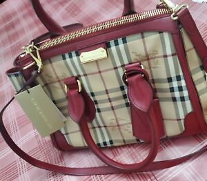$1495 New Gladstone red Burberry Haymarket Check military red tote leather/canv