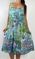 CITY CHIC Blue Green Floral Print A-line Midi Dress Plus Size M AU 18 Party Boho