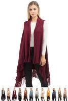 ScarvesMe Women Fashion Warm Solid Fringe Knit Shrug Poncho Cover up Vest