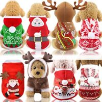 Christmas Xmas Pet Clothes Cotton Hooded Dog Vest Costumes Jacket Coat Apparel