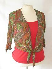 NEW Per Una M&S Red Orange Green 2 Part Cami Top & Bolero Set Size 14 3/4 sleeve