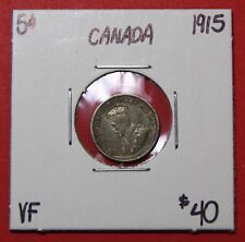 1915 Canada Silver Five 5 Cent Coin 8620 - $40 VF