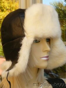WHITE Rabbit Fur LEATHER TROOPER HAT SMALL *NEW*