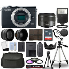 Canon EOS M100 Camera Body Black+ 3 Lens Kit 15-45mm IS STM+ 32GB + Flash & More