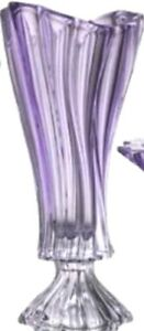 """Crystal Glass Footed Vase 16 """" Centerpiece  Purple color Flower Bohemian Crystal"""