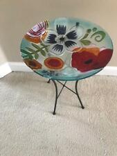 Beautiful Outdoor Painted Bird Bath w/ Stand Flower Pattern