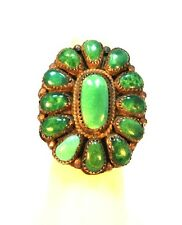 Vintage Sterling Silver Southwest Rare Green Turquoise Cluster Ring (signed)