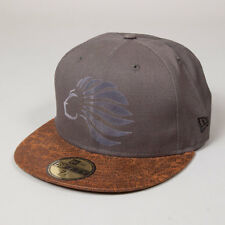 King Apparel Prestige New Era Fitted Cap - Charcoal Grey / Brown - 7 1/8 [NEW]