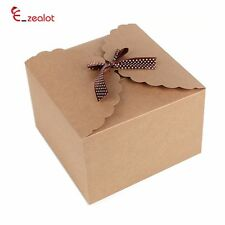 Kraft Paper Large Square Brown Gift Boxes Simple Ribbon Box Christmas Ornaments