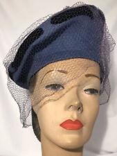 Vintage 1940s Belvedere Cornflower Blue 100% Wool Veiled Tam Hat 6 7/8 56