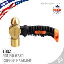 16OZ Copper Head Hammer Brass Ball Stubby Hammer Nonslip Non-Sparking Anti-Shock