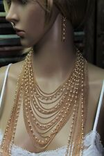 Gold Multi-Strand Necklace of Pearl and Chain Fringe with Earrings Statement Pc.