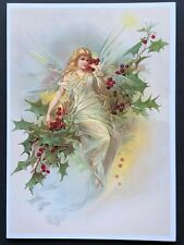 Blank Art Note Card Holly berry Fairy wings Nos Pleiades Press #168 winter queen