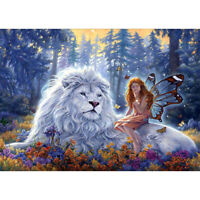 DIY Diamond Painting 5D Embroidery Full Drill Home Decor White Lion and Elves