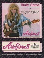 Whitesnake Rudy Sarzo 1987 Aria Pro II SB Elite Bass guitar 8 x 11 ad print