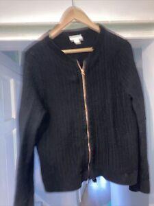 Ladies Black Monsoon Zip Up Cardigan Size 12 To 14