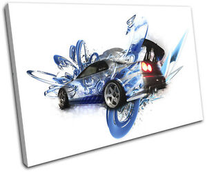 Skyline Fast Abstract Furious Cars SINGLE CANVAS WALL ART Picture Print