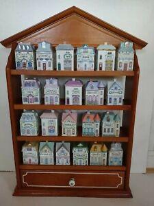 1989 Lenox Spice Village 22 Porcelain Houses Wood Display Rack Vintage