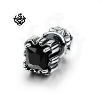 Silver stud black made with swarovski crystal single double side earring gothic