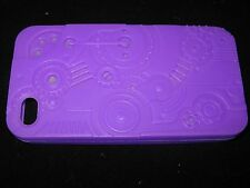 Gears Cover Case for iPhone 4 4s Silicone Mechanical Gears Texture Purple Case