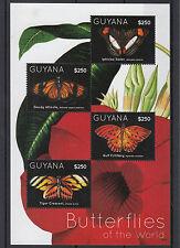 Guyane 2012 neuf sans charnière Papillons du monde 4V feuille II iphiclus soeur Golfe FRITILLARY