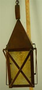 ARTS & CRAFTS LANTERN FIXTURE LIGHT COPPER OPALINE CARAMEL SLAG GLASS