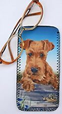 IRISH TERRIER DOG GLASSES CASE POUCH  SANDRA COEN ARTIST WATERCOLOUR  PRINT