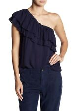 NWT On The Road Women's One Shoulder Ruffle Top Navy Blue Size M $65 OFBR