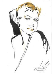 original painting A4 171BЕ art samovar gouache female portrait sketch Signed