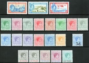 Bahamas 1938 KGVI complete set of mint stamps to £1 Shades LMM