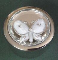BUTTERFLY Trinket Box by Sophia. enamelled with crystals. silver plated box
