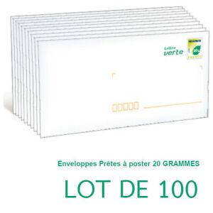 Enveloppe PRETE A POSTER, 20 GRAMMES, lot de 100 PAP lettre verte economique,