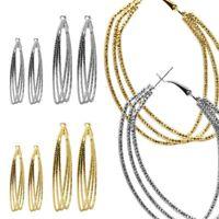2 Damen Ohrringe Creolen Dreireihig Ohrhänger Ohrstecker Goldfarben Silberfarben