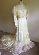 Vintage Victorian Boho Style Wedding Dress  /Hat Cream Pleated Satin Ivory Lace