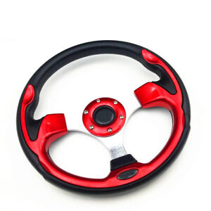 "2021 Universal MOMO Imitative Racing Car Steering Wheel 13"" 31cm Red Silver Horn"