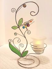 Butterfly Tealight Candle Holder Scrolling Silver Metal Stained Glass Marbles 13