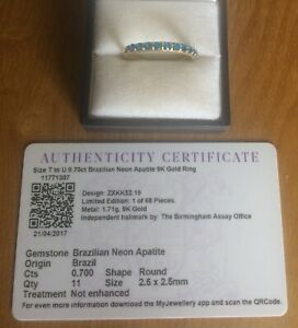 Secondhand Bargain! Brazilian Neon Apatite Eternity Ring 9ctGold Limited Edition