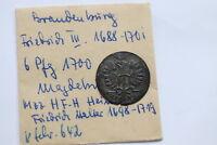 GERMANY BRANDENBURG 6 PFENNIG 1700 B12 #2959