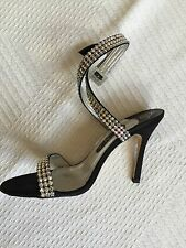 Gina Shoes Sandals Bling Diamonte Wrap Around Ankle Size 5.5 High Heels Classic
