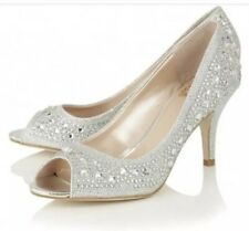 Lotus Special Occasion Peep Toe Serenity Silver Diamante Shoe UK Size 6 New