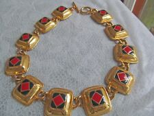 blue enamel squares in link pattern Colorful metal choker necklace with red and